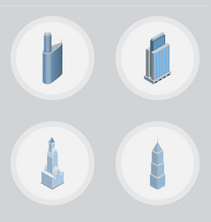 Isometric building set of cityscape urban vector