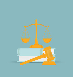 law books with a judges gavel in flat style vector image