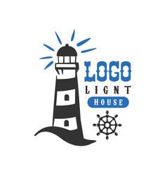 lighthouse logo original design retro badge vector image