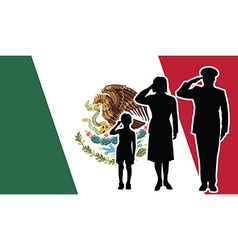 Mexico soldier family salute vector