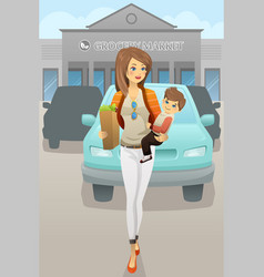 Mother carrying her son and grocery bags vector