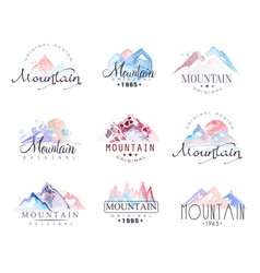 Mountain original logo design watercolor vector