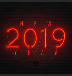 Neon card for happy new year 2019 vector