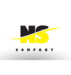 ns n s black and yellow letter logo with swoosh vector image