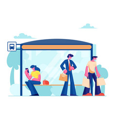 people stand on bus station woman sitting vector image