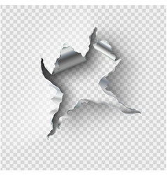 ragged hole torn in ripped steel on transparent vector image