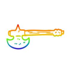 rainbow gradient line drawing cartoon golden axe vector image