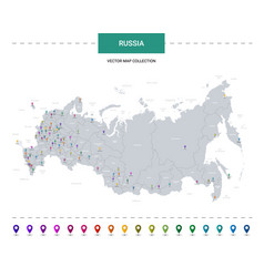 Russia map with location pointer marks vector