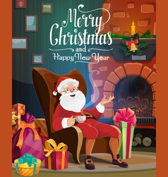 santa christmas fireplace gift bag and presents vector image