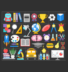 school icons set paper cut cartoon trendy craft vector image