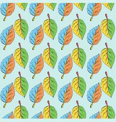 Scrawl pattern multi-colored leaves vector