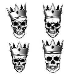 Set of human skulls with king crown design vector