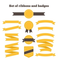 Set of yellow ribbons and badges vector