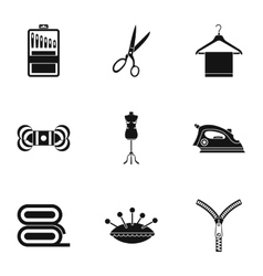 Sewing supplies icons set simple style vector