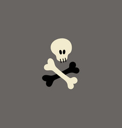 Skull and crossbones flat hand drawn vector