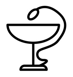 Snake and bowl line icon pharmacy symbol vector