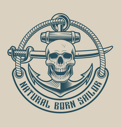 t-shirt design with a skull in vintage style vector image