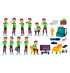 Teen boy poses set leisure smile for web vector
