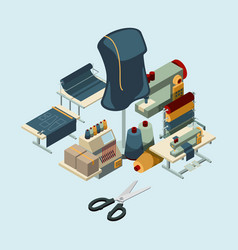 Textile industry sewing manufactory tools concept vector