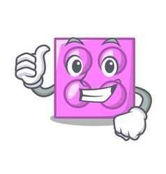 Thumbs up toy brick character cartoon vector