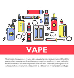 Vape accessories set on promotional poster with vector