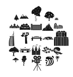 view icons set simple style vector image