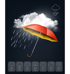 Weather forecast template An umbrella on rainy vector image