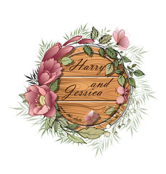 wedding floral invite wooden plate vector image