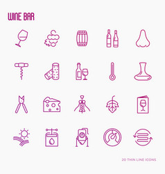 wine making and winery thin line icons vector image