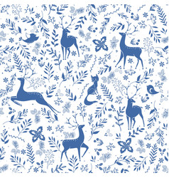 winter seamless pattern with holly berries deer vector image