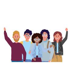 Young people friends cartoon vector