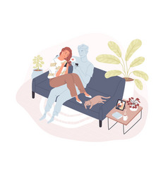 young smiling woman sitting on comfy sofa with her vector image
