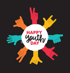 Youth day greeting card with diverse teen hands vector