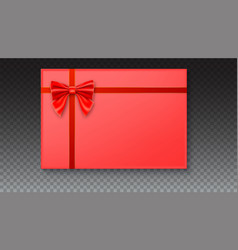 gift box with big red bow and ribbon on white vector image vector image