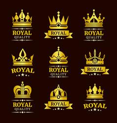golden royal quality crown logo templates vector image vector image