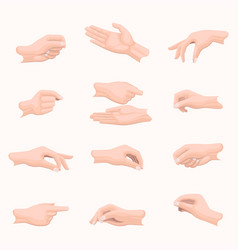 realistic hand set with fingers positions on white vector image