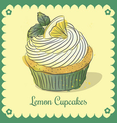 vintage card lemon cupcakes vector image vector image