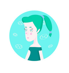 woman cartoon portrait representing cancer zodiac vector image