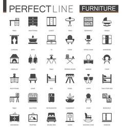 black classic furniture web icons set vector image vector image