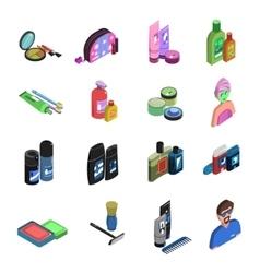 Bodycare Isometric Icon Set vector image