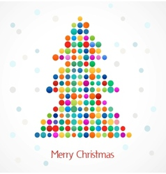 Christmas tree with abstract colorful doted vector image vector image