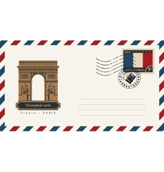 envelope with a postage stamp with Triumphal arch vector image vector image