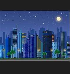 flat style modern design of urban night city vector image vector image