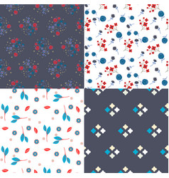 millefleur flowers and geometric seamless vector image