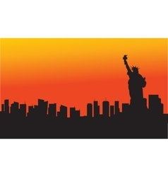 The Statue of Liberty at sunset vector image