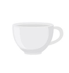 White tea cup in flat style vector