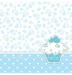 Blue background with cupcake vector image