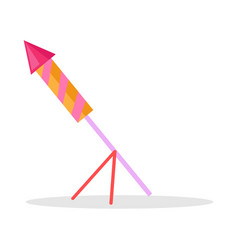 christmas firework rocket isolated icon on stand vector image vector image
