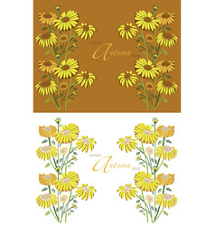 frame autumn sunflowers vector image vector image
