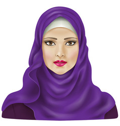 Girl in violet hijab vector image vector image